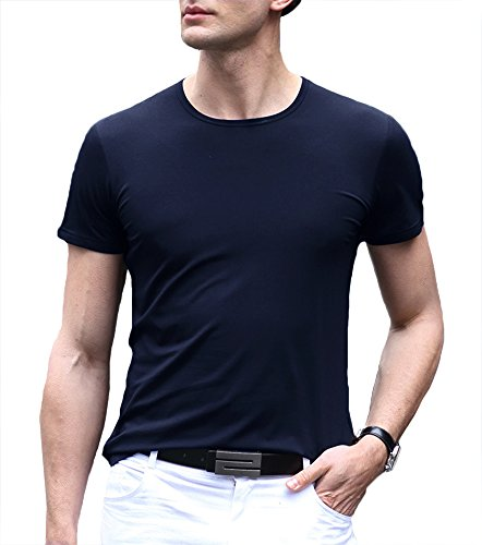 Musen Men Casual Solid Classic Crewneck Short Sleeve T-Shirt Navy Blue (Solid Crewneck T-shirt)