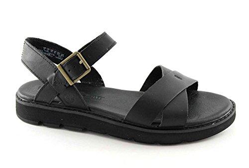 TIMBERLAND BAILEY A143C parque negro cruz de la hebilla de los zapatos sandalias de las mujeres Nero