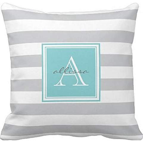 Light Gray Monogrammed Awning Stripe Throw pillowcase Pillow shams case Cushion Cover 18*18