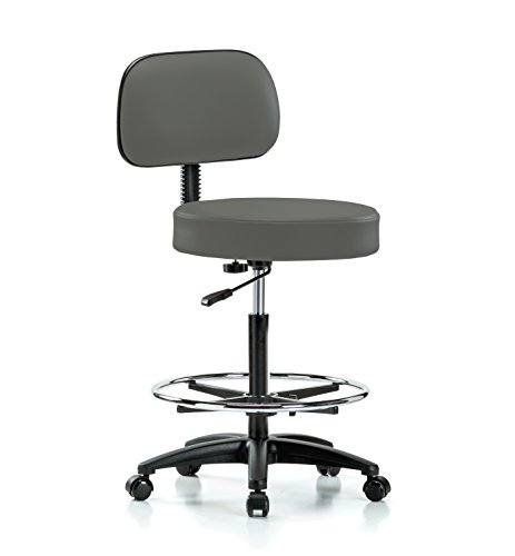 Perch Rolling Walter Exam Office Stool with Footring and Adjustable Backrest for Medical Dental Spa Salon Massage Lab or Workshop 25