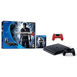 Sony PlayStation 4 500GB Console - Uncharted 4 Limited Edition Bundle with Dual Shock 4 Wireless Controller -Magma Red