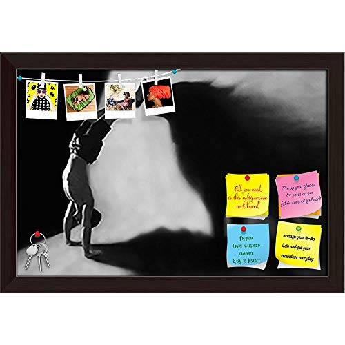 ArtzFolio Handstand in Studio with Wolf Shadow Printed Bulletin Board Notice Pin Board Cum Dark Brown Framed Painting 17.5 x 12inch