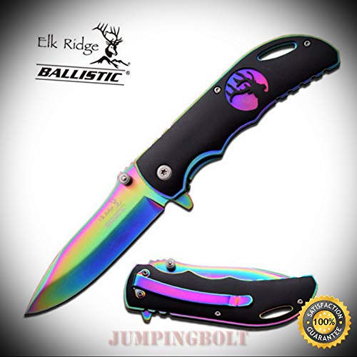 Spring Assisted Open RAINBOW Folding Hunting Camping Pocket Sharp Knife - Premium Quality Hunting Very Sharp EMT -