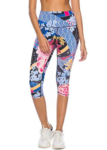 2662fe370a Mint Lilac Women's High Waist Printed Yoga Pants Tummy Control Workout  Capri Leggings Small