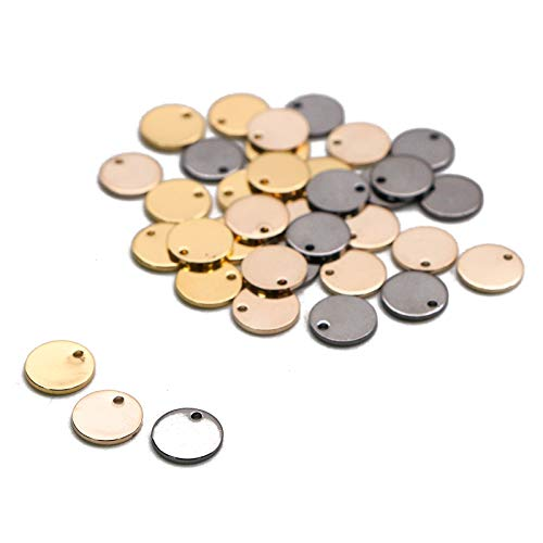 WSSROGY 36 Pcs Stamping Tag Pendants Circle Blank Coin Stamping Charms Round Stamping Blank Tag Metal Jewelry Making (Gold Silver Rose Gold)