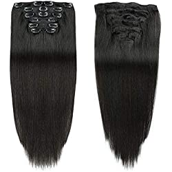 "Black Color Double Weft Clip in Human Hair Extensions Full Head 14""-20"" Grade 8A Quality 7pcs 16clips Long Soft Silky Straight 100% Remy Human Hair Clip In(16""-70g #1B)"
