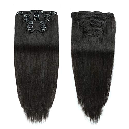 Black Color Double Weft Clip in Human Hair Extensions Full Head 14