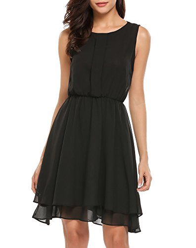 SE MIU Women Casual Sleeveless Solid O Neck Chiffon A Line Pleated Swing Dress (Black Chiffon A-line)