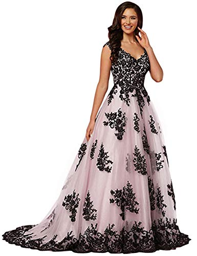 Ruffle V-neck Court Train - Scarisee Women's A-line/Princess V-Neck Prom Dresses Lace Appliqued Evening Gowns Formal Court Train Wedding Party Apparels Pink 22W