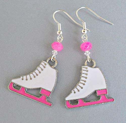 Figure Skater Earrings, Pink and White Ice Skating Jewelry Gift with Crystals