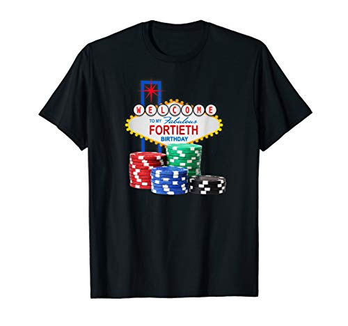 Retro Las Vegas Casino 40th Birthday Gambling Gift T-Shirt