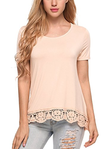 Solid Lace Trim - Kancystore Womens Short Sleeve Loose Tops Solid Basic Patchwork Lace Trim Casual T Shirts Plus Size (S-XXXL) (2X-Large, 8 Apricot)