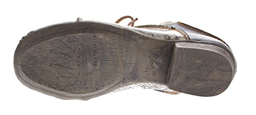 TMA Damen Stiefeletten echt Leder Schuhe Comfort Leder Boots TMA 8818 Knöchelschuhe Gr. 36 - 42 Schwarz-Grau