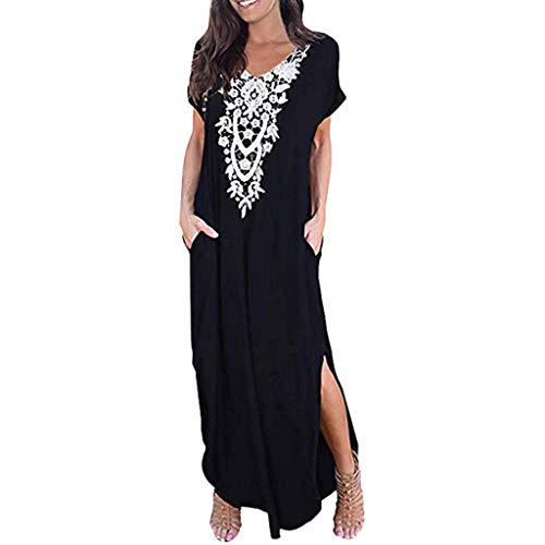 Dressin Vintage Bohe Long Dress Fashion 2019 V Neck Short Sleeve Side Split Pocket Long Maxi Dress for Women Black