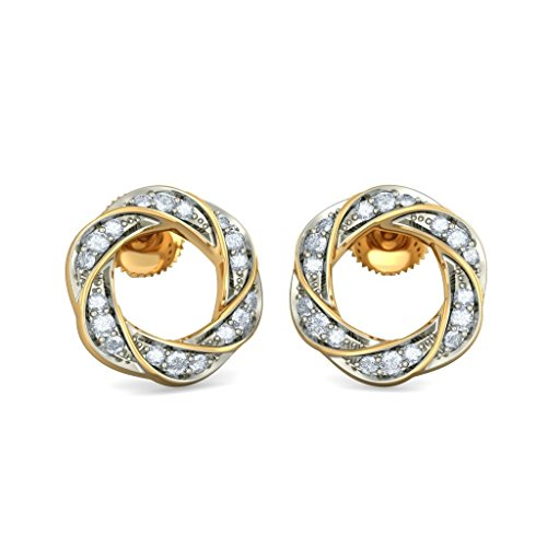14K Or jaune 0,21CT TW White-diamond (IJ | SI) Boucles d'oreille à tige