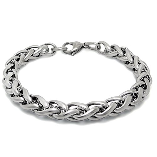 Jade Angel Silver Plated Titanium Stainless Steel Wheat Chain Bracelet (7.5 Inches)