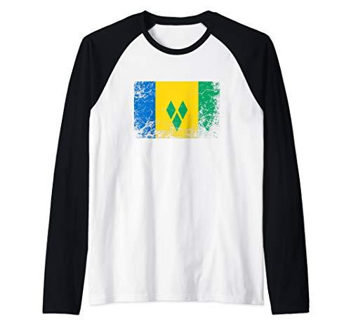 Saint Vincent and the Grenadines National flag vintage gift  Raglan Baseball Tee