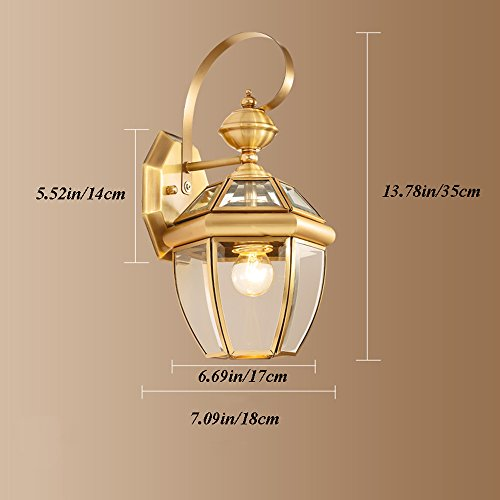 13.78 Inch/35cm high wall lamp Modern minimalist fashion E27 light bulb 1 31-40w copper Glass lampshade Bar Bedroom Living room outdoor (Gold) by Lizichun (Image #6)'