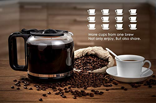 AICOK Coffee Maker, 12 Cups Programmable Drip Coffee Maker with Coffee Pot, Coffee Machine with Timer, Anti-Drip Design, Permanent Filter Coffee Maker, 1.8 Liter Glass Carafe, 900W