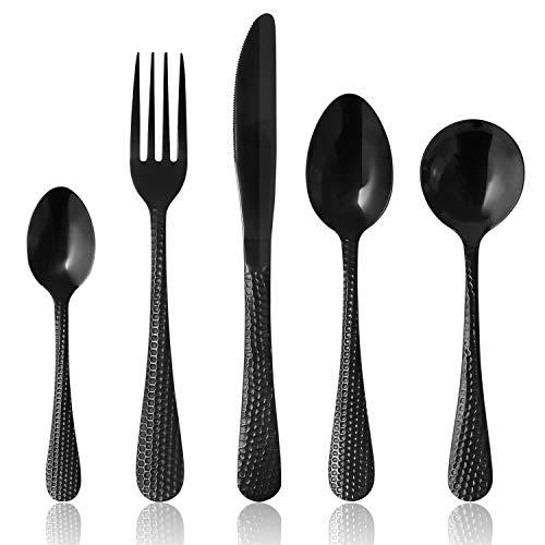 (Black Flatware Set 5-Piece Silverware Set MEYUEWAL Stainless Steel Home Kitchen Hotel Restaurant Tableware Cutlery Set Mirror Finished Dishwasher Safe Patterned )