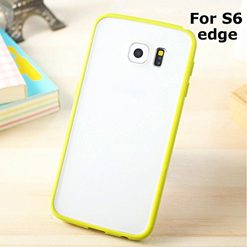 Galaxy S6 Edge Hybrid Case, ANLEY Candy Trim Series - [Shock Absorption] Jelly Silicone Bumper with Frosted Clear Hard Back Cover for Samsung Galaxy S6 Edge (Matcha Green) + Free Screen Protector