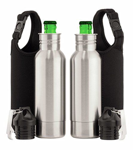 Bottle Haven - Gift Set Includes Stainless Steel Bottle Keeper, Bonus Neoprene Sleeve + Bottle Opener - Awesome Gift for Groomsmen, Beer Lovers and Tailgaters! - Twin Pack Koozie (Lovers Pack)