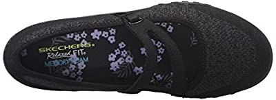 Skechers Sport Women's Breathe Easy Lucky Lady Mary Jane Flat,Black Knit Mesh/Charcoal Trim,9.5 M US