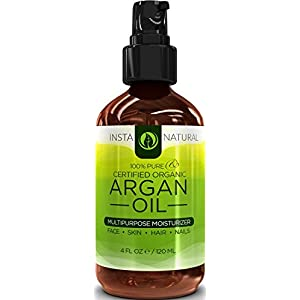 InstaNatural Organic Argan Oil - for Hair, Face, Skin and Body - 100% Pure and Certified Organic Cold Pressed Argan Oil of Morocco - For Nails, Dry Scalp, Split Ends, Stretch Marks & More - 4 OZ