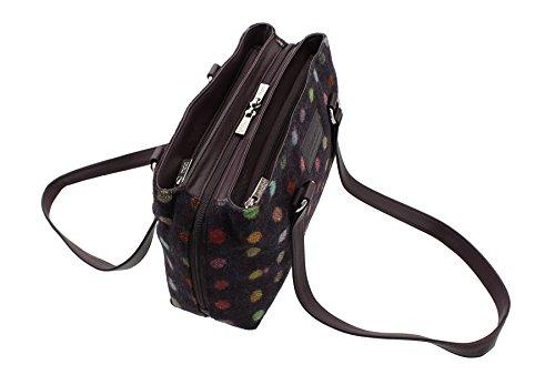 727 à Femme 40 Spot Noir à Sac Leather l'épaule pour Noir Porter Plum Mala vxIUFnwq