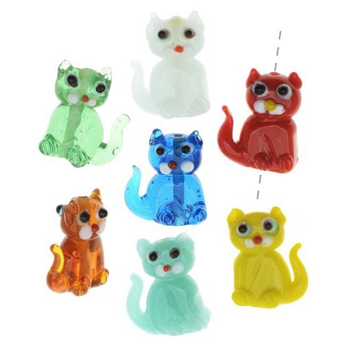 (Lampwork Glass Novelty Beads, Sitting Cats 18x25mm, 4 Pieces, Assorted Colors )