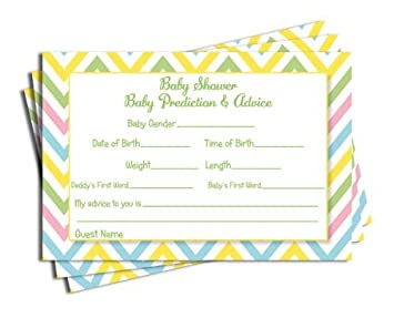 baby shower chevron advice u0026 prediction cards neutral baby shower games 50 cards