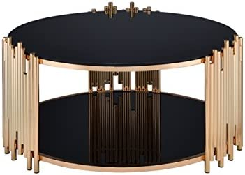 HomeRoots Glass, Metal 37 X 37 X 18 Black Glass and Gold Coffee Table