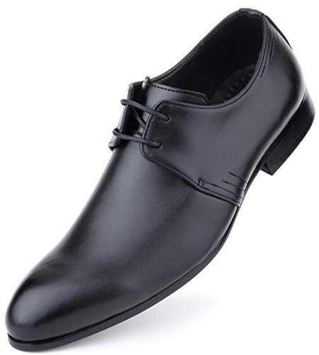 Mens Oxford Shoes Formal Leather Mens Dress Shoes - Men Wedding Shoes in A Bag - Black ()