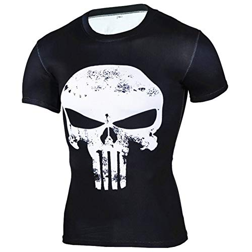 PKAWAY Fashion Punisher Skull White Compression Shirt Short Sleeve 4XL]()
