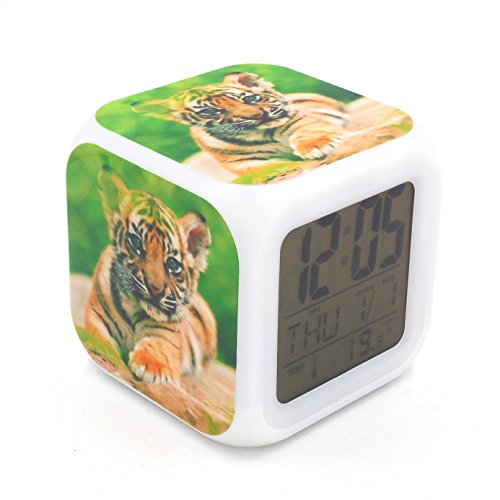 Tiger Battery - EGS New Tiger Animal Digital Alarm Clock Desk Table Led Alarm Clock Creative Personalized Multifunctional Battery Alarm Clock Special Toy Gift for Unisex Kids Adults