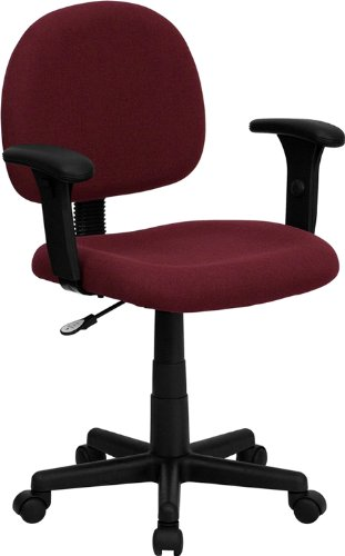 Mid-Back Ergonomic Burgundy Fabric Task Chair Adjustable Arms price