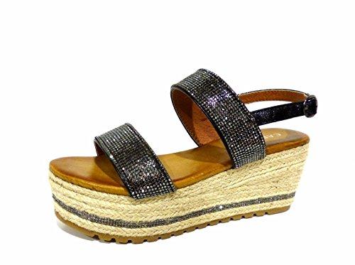 CafèNoir Mujer Hm918-010 Nero zapatos con correa