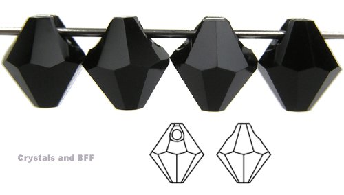 Machine Cut Bicone - 6mm Jet black, Czech Machine Cut Top Drilled Bicone Pendant (6301 Shape), 12 pieces