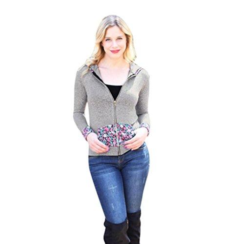 Internet Bolsillos elásticos con cremallera de lana con capucha de las mujeres Chaqueta de estampado floral Abrigo de manga larga Gris