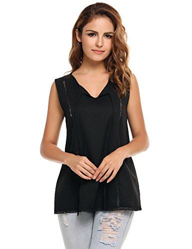 Black Sleeveless Bow (Meaneor Women's Casual Chiffon Loose Bow Tie Top Sleeveless Blouse (Black)