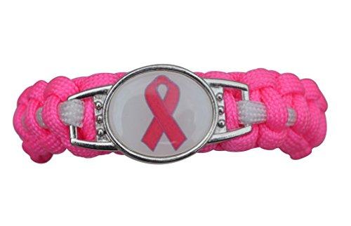 - Infinity Collection Breast Cancer Awareness Pink Ribbon Bracelet, Adjustable Pink Ribbon Cancer Paracord Bracelet