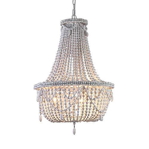Lovedima Farmhouse Distressed Wood Beaded Chandelier Antique White Basket Pendant Hanging 3-Light Kitchen Ceiling Lamp Light Fixtures (Wire And Chandelier Rustic Basket Wood)