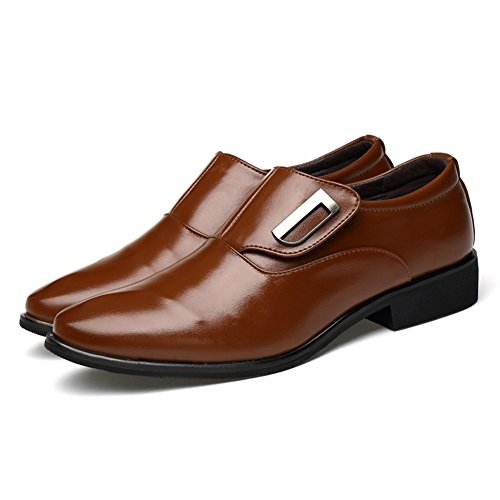 Blivener Scarpe Da Uomo Classiche Slip On Oxford Brown
