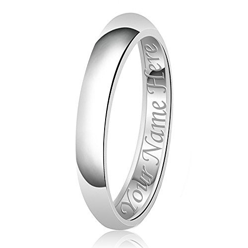 3mm Personalized Name Engraving Classic Sterling Silver Plain Wedding Band Ring, Size 6 - 3mm Engraved Band