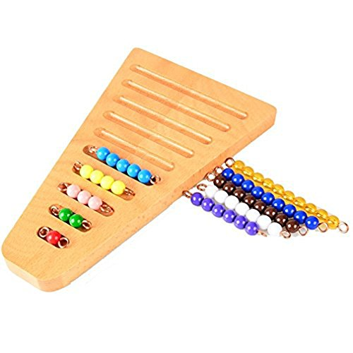 DONGMING Montessori 10 Color Beads Sorting Tray Math Manipulatives Kindergarten Preschoolers Toys Checker Board Beads Early Development Mathematics Material for Kids Wooden Toy