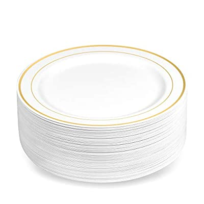 50 Disposable White Gold Trim Plastic Soup Bowls   14 oz. Premium Heavy Duty Disposable Dinnerware with Real China Design   Safe & Reusable and Great for