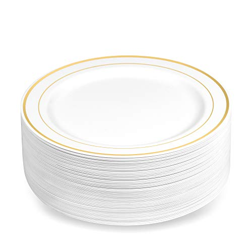 50 Plastic Disposable Dessert/Appetizer Plates | 7.5 inches White with Gold Rim Real China Look | Ideal for Weddings, Parties, Catering | Heavy Duty & Non Toxic (50-Pack) by BloominGoods - White Disposable