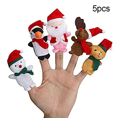 carduran 5/10Pcs Mini Santa Bear Christmas Plush Finger Puppet Toy Kids Toys Gift 5pcs: Toys & Games