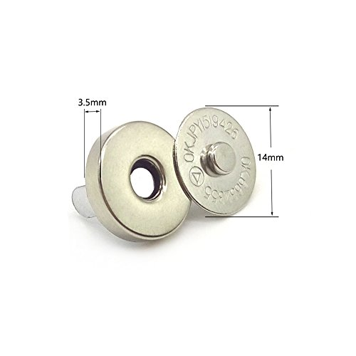 Aligle 50 Sets Magnetic Purse Snap Clasps Button/Great for Closure Purse Handbag Clothes Sewing Craft Silver 14mm