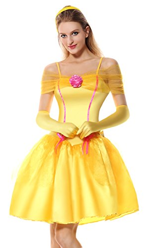 [Lusiya Women's Adult Halloween Princess Costume Yellow Large] (Belle Halloween Costumes For Women)